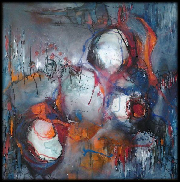 Kreis, Orange, Blumen, Grün, Blau, Linie
