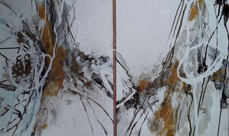 Weiß, Abstrakte malerei, Grau, Schwarz, Goldfarben, Linie
