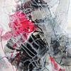 Abstrakte malerei, Rot, Grau, Schwarz