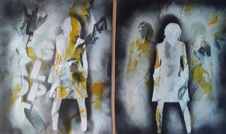 Frau, Gelb, Schwarz, Malerei