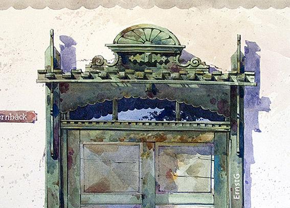 Architektur, Bauernhof, Aquarell