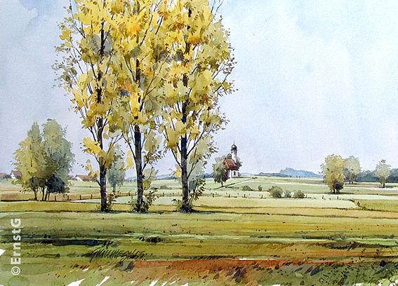 Herbst, Eismerszell, Kapelle, Aquarell,