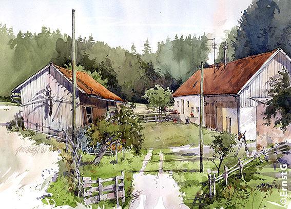 Hallertau, Aquarellmalerei, Bauernhof, Aquarell