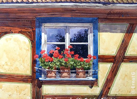 Bauernhaus, Windsheim, Häckerhaus, Aquarell