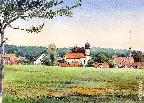 Miegersbach, Maibaum, Landschaft, Aquarell