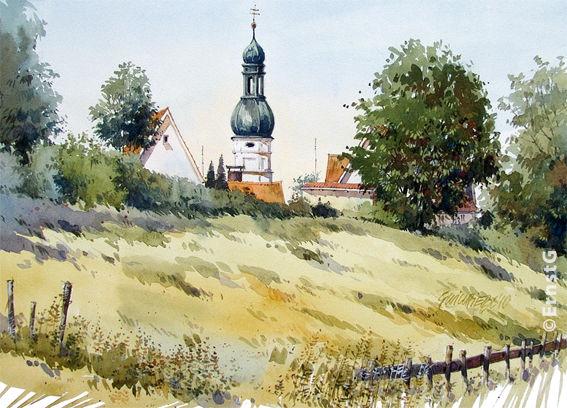 Pfaffenhofen, Hallertau, Niederscheyern, Kirche, Aquarell