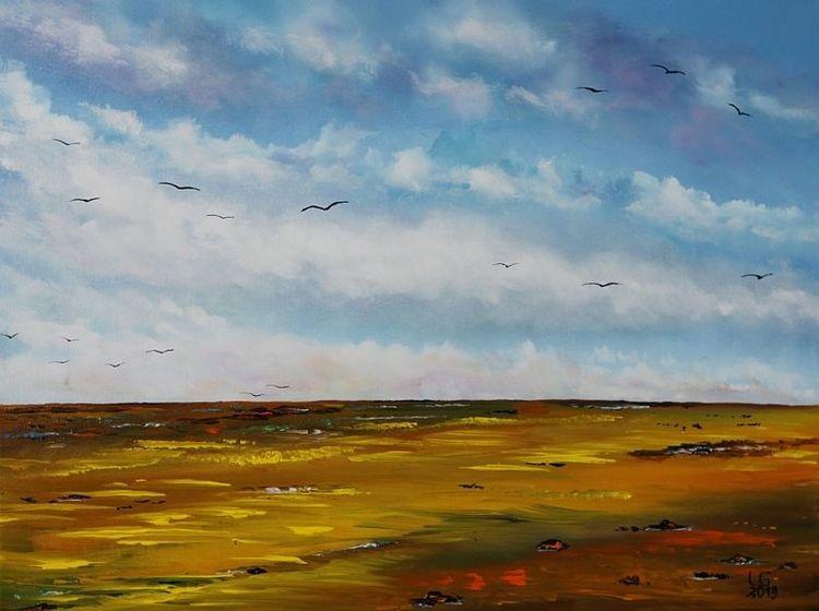 Wiese, Himmel, Frühling, Wolken, Feld, Hochnebel