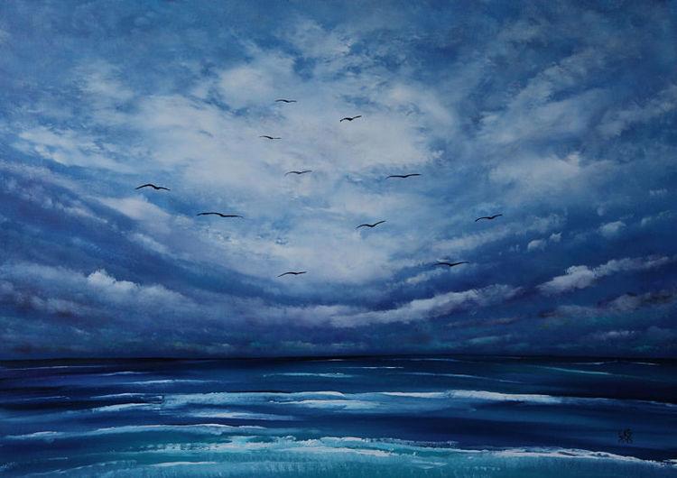 See, Seelandschaft, Meer, Wolken, Malerei, Gemälde