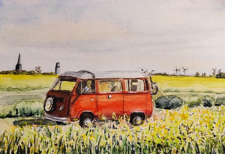 Bulli, Fehmarn, Vw bus, Aquarell,