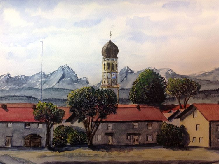 Kirche, Hohenbrunn, Föhn, Berge, Aquarell, Blick