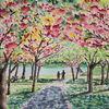 Baum, Park, Frühling, Aquarell