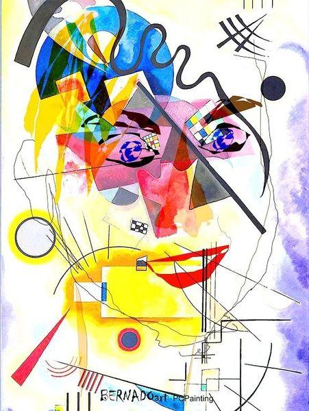 Gemälde, Rot, Gelb, Fair, Gesicht, Modern