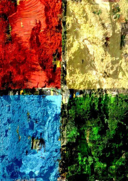 Gemälde, Lauer, Gelb, Bunt, Vier elemente, Wand