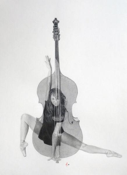 Kontrabass, Tanz, Zeichnungen