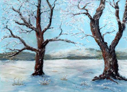 Kalt, Pastellmalerei, Rauhreif, Baum, Landschaft, Winter