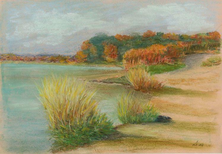 Pastellmalerei, Herbst, Leipzig, Landschaft, See, Strand