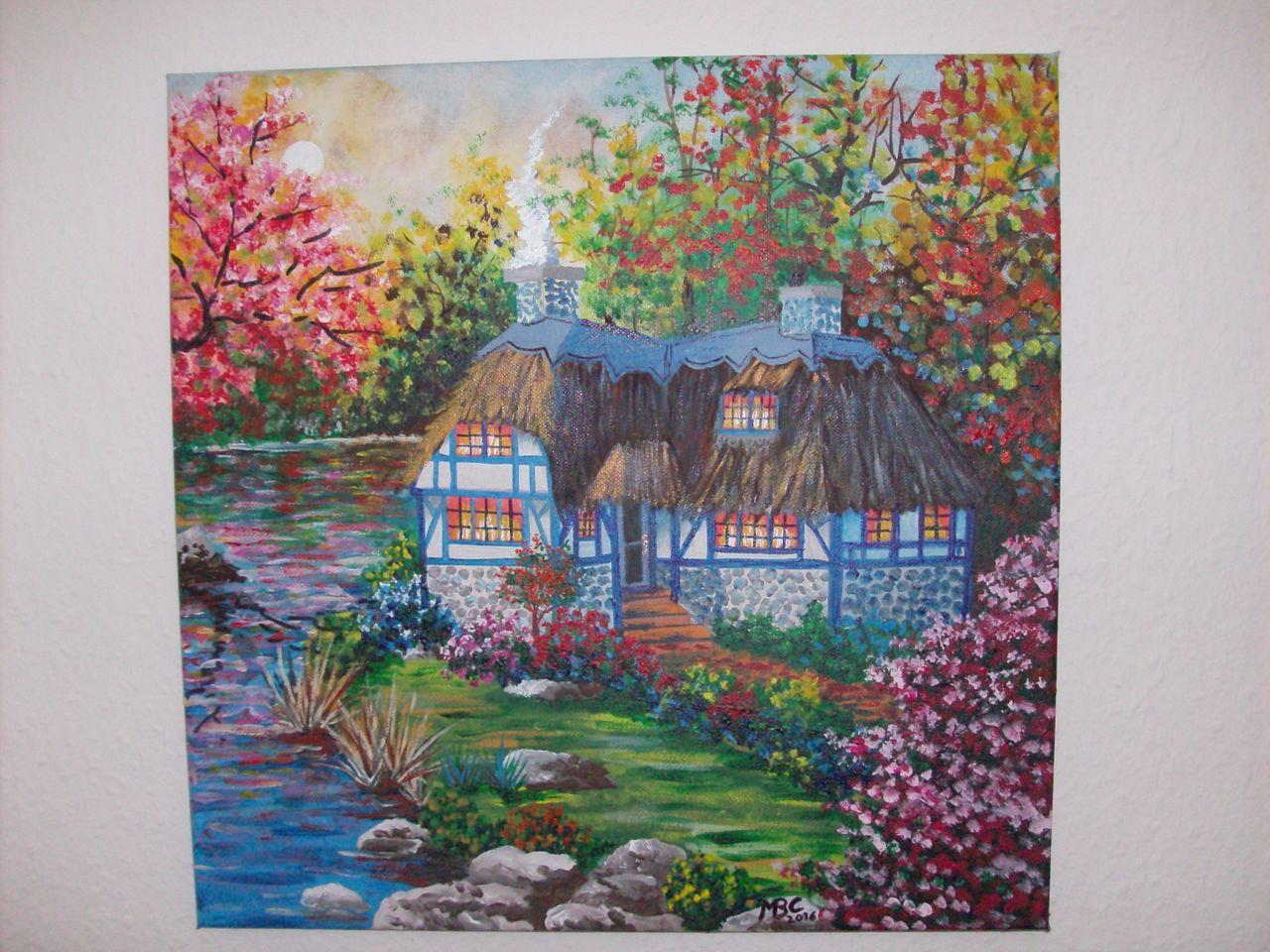 Haus am Weiher See Landschaft Herbst Haus von Martina