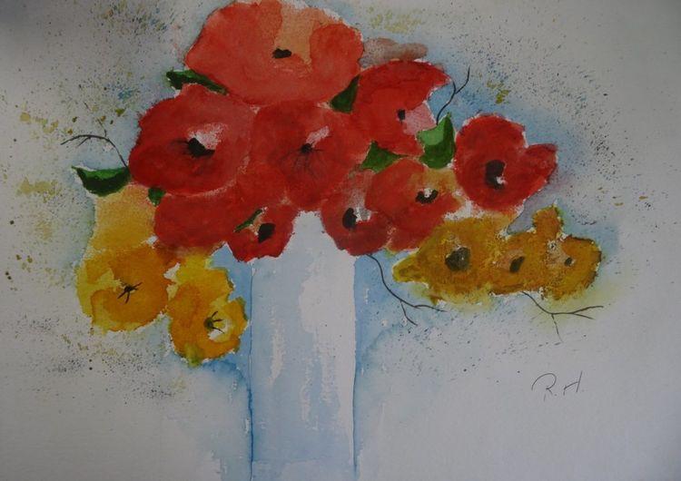 Blumen, Blüte, Aquarellmalerei, Stillleben, Rot, Blumenstrauß