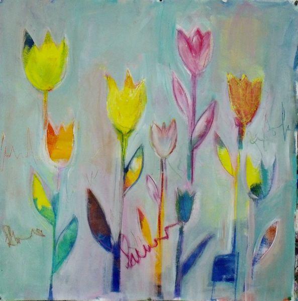 Rose, Blau, Tulpen, Blumen, Blau mit gold, Acrylmalerei