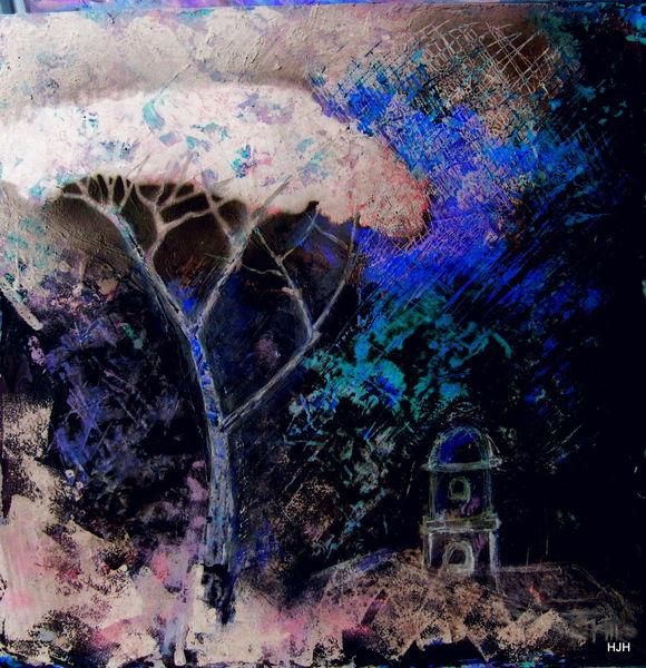 Baum, Pinie, Schwarz, Malerei, Abstrakt, Nacht