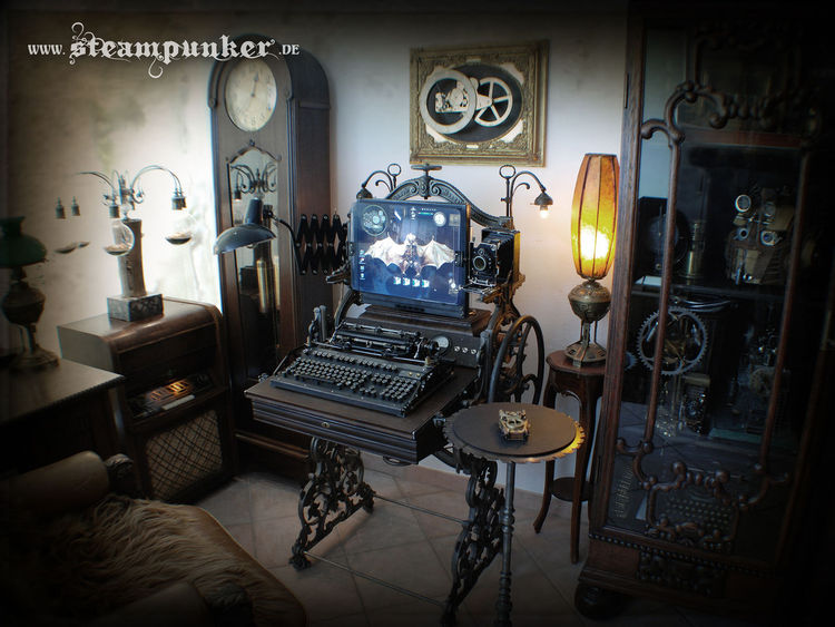 Retrofuturismus, Workstation, Vintage, Arbeitsplatz, Steampunk, Zimmer