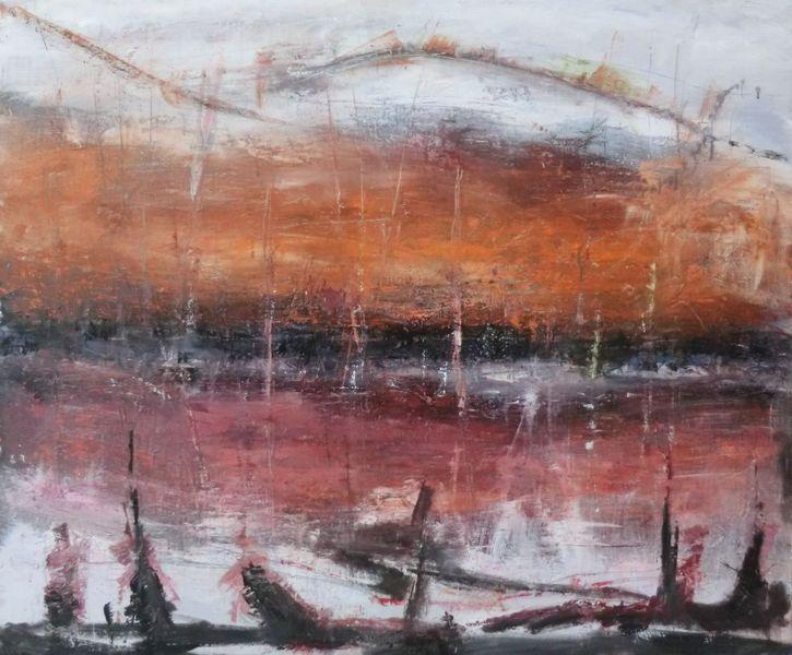 Braun, Abstrakt, Maritim, Sonnenuntergang, Spiegelung, Abstrakte landschaft