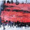 Abstrakte landschaft, Nicht gegenständlich, Rot schwarz, Moderne malerei