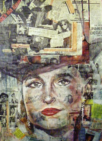 Malerei, Portrait, Acrylmalerei, Ausdruck, Menschen, Collage