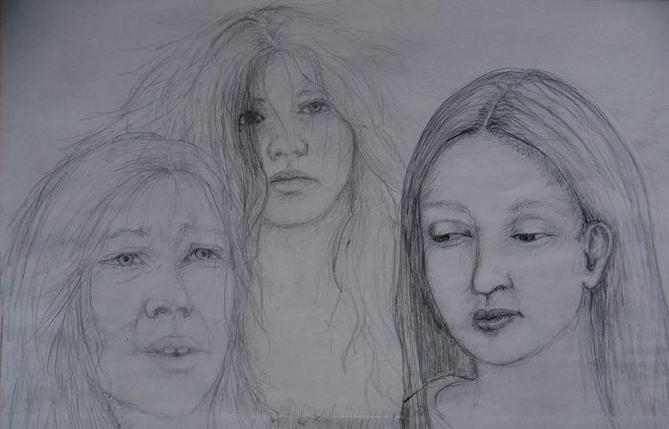Melancholisch, Dreifrauen, Gedanken, Verscheiden, Zeit, Skizze