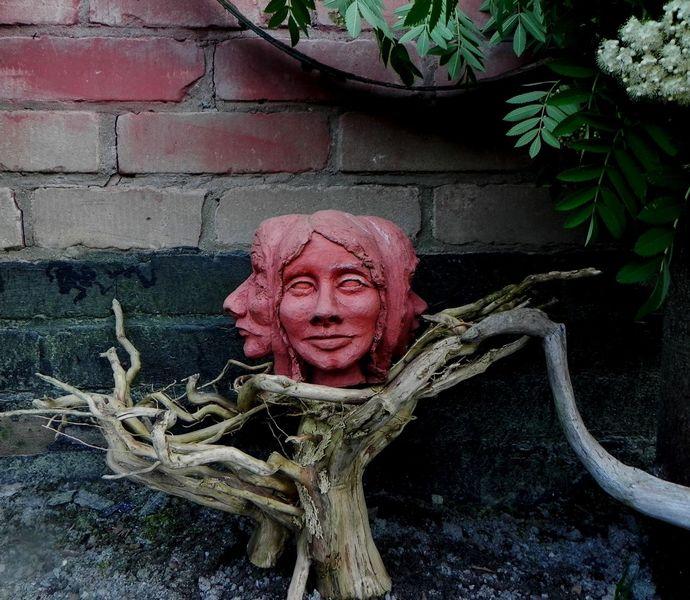 Dreiergesicht, Garten, Frau, Entwicklung, Ton, Plastik
