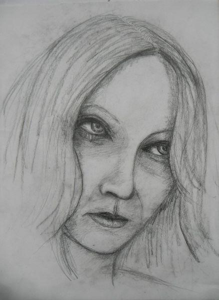 Frau, Blick, Zufall, Zeichnungen,