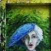 Frau, Rückseite, Urwald, Malerei