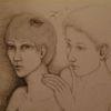 Berührung, Frau, Schattenvögel, Zeichnungen