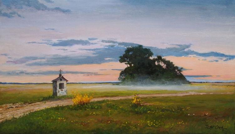 Feld, Kapelle, Weg, Abendnebel, Malerei