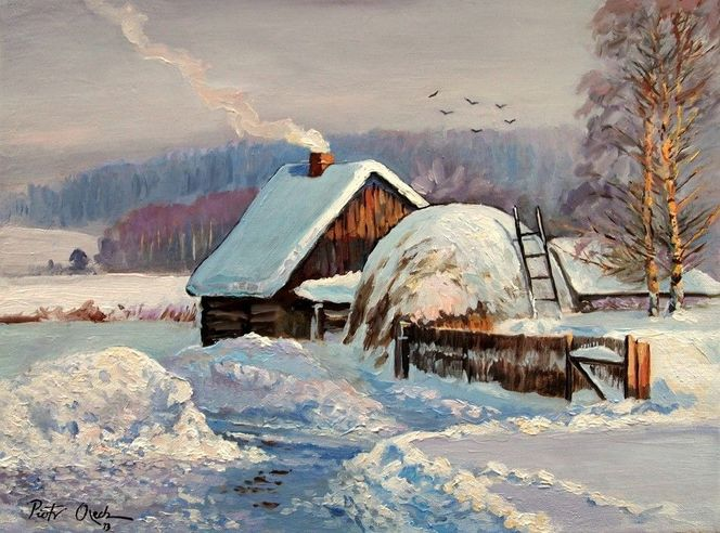 Dorf, Bauernhaus, Schnee, Winter, Malerei
