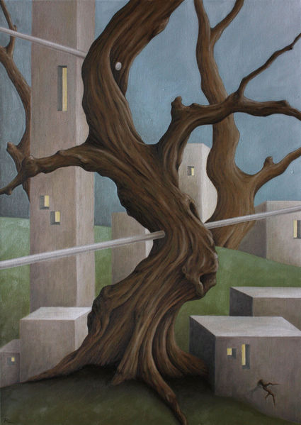Fenster, Schädel, Häuser, Holz, Hügel, Ölmalerei