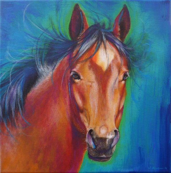 Hengst, Portrait, Pferde, Krafttier, Malerei