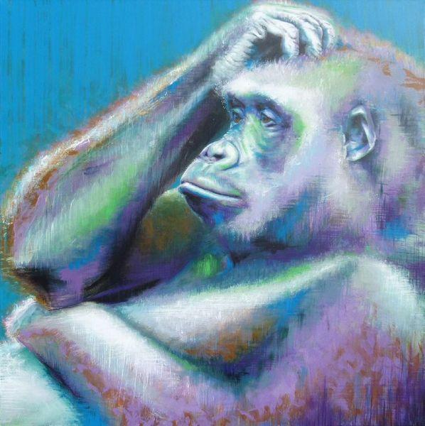 Gorilla, Affe, Menschenaffen, Portrait, Malerei