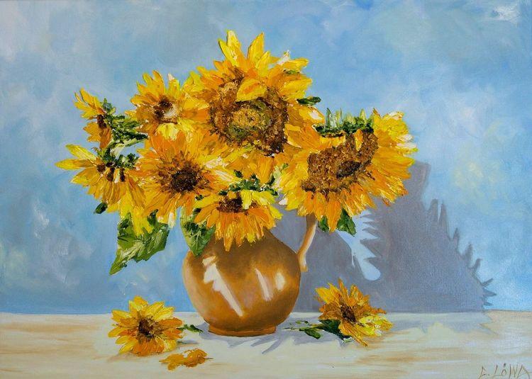 Helios, Sonnenblumen, Vase, Sommer, Malerei