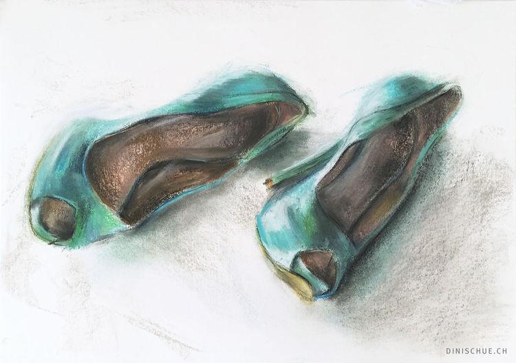 Schuhe, Damenschuhe, Türkis, Weiß, Frau, High heels