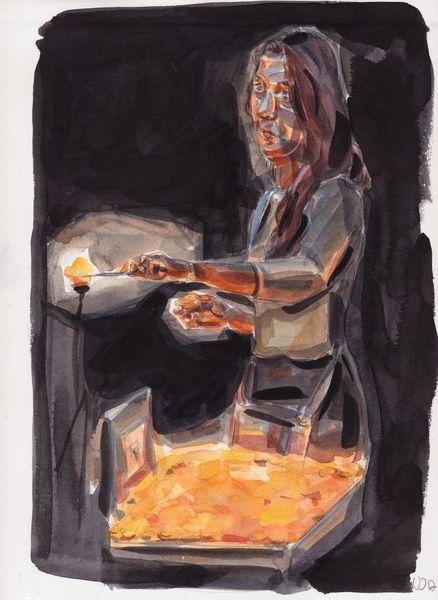 Kerzen, Frau, Kirche, Zeichnungen