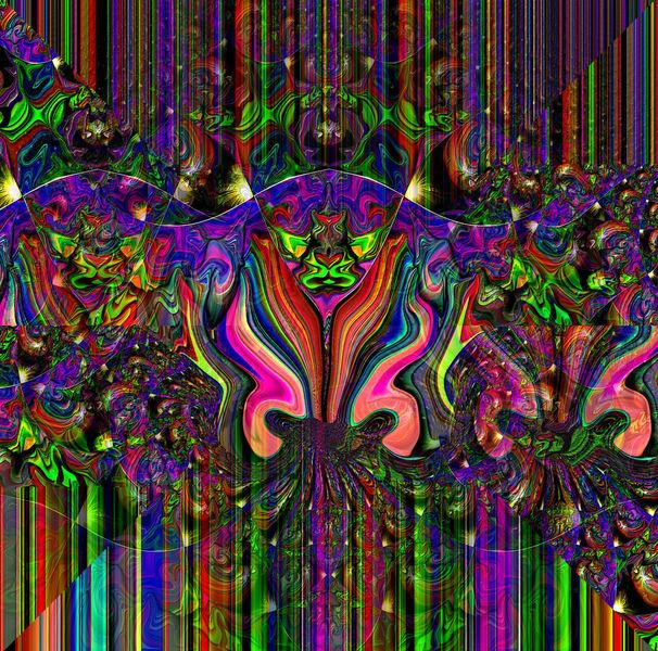 Zeitgenössisch, Fraktalkunst, Wind, Gesicht, Grün, Dekoration