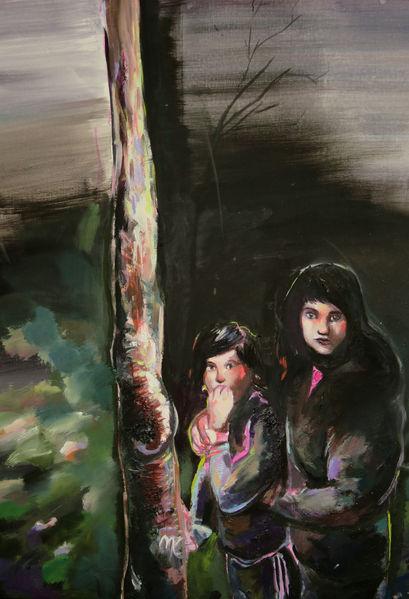 Mädchen, Wald, Nacht, Malerei
