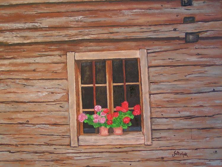Bauernhaus, Holz, Geranie, Malerei, Fenster