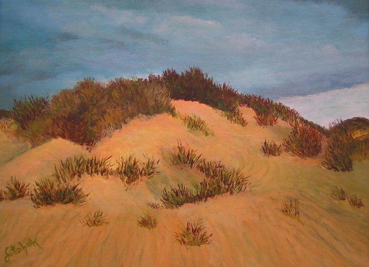 Sand, Himmel, Gras, Dünen, Malerei