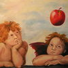 Apfel, Engel, Malerei,