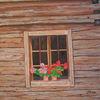 Bauernhaus, Holz, Geranie, Malerei