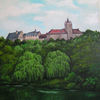 Schloss, Sommer, Teich, Malerei