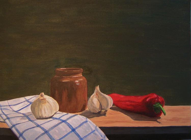 Paprika, Knoblauch, Stillleben, Tuch, Malerei