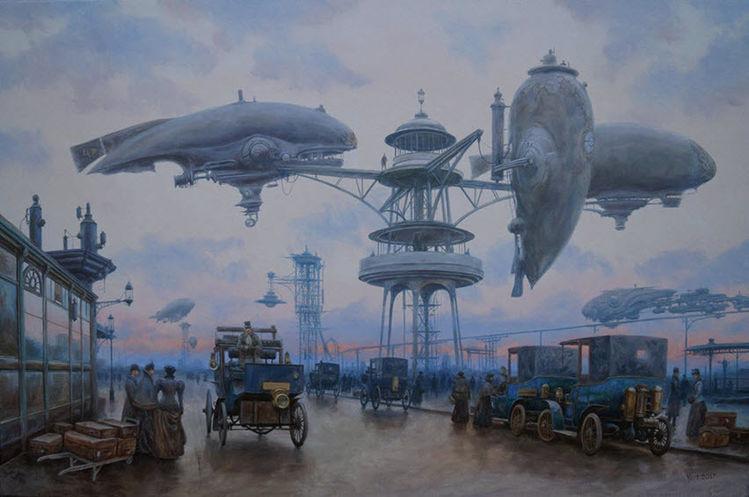 Straße, Fliege, Zeppelin, Morgen, Stadt, Steampunk